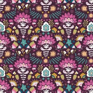 Tissu patchwork fleurs luxuriantes fond prune - Lugu