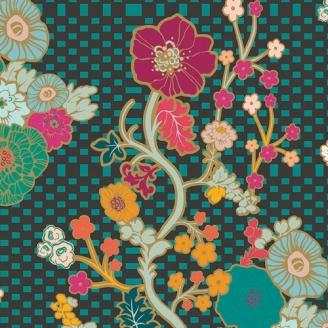 Tissu patchwork Marqueterie frises de fleurs prune et turquoise fond noir - Legendary