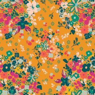 Tissu patchwork Femme bouquets de fleurs fond orange - Legendary
