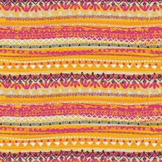 Tissu patchwork Trinkets frises géométriques orange et fuchsia - Legendary