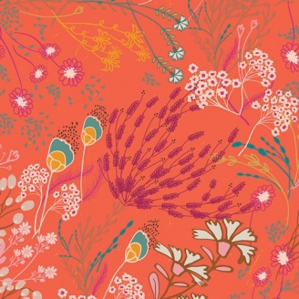 Tissu patchwork Meadow Boho grandes fleurs oranges - Legendary