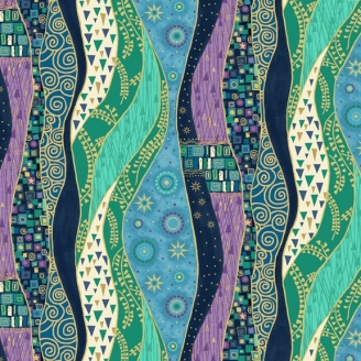 Tissu patchwork inspiration Klimt rayures bleues - Rhapsody