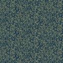 Tissu patchwork inspiration Klimt volutes indigo - Gold Scroll