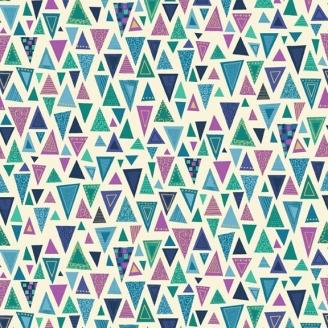 Tissu patchwork inspiration Klimt triangles bleus fond écru - Rhapsody