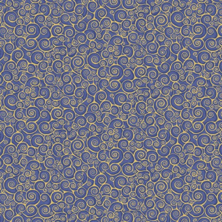 Tissu patchwork inspiration Klimt volutes bleu - Gold Scroll