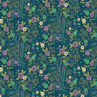 Tissu patchwork inspiration Klimt roses fond bleu - Rhapsody