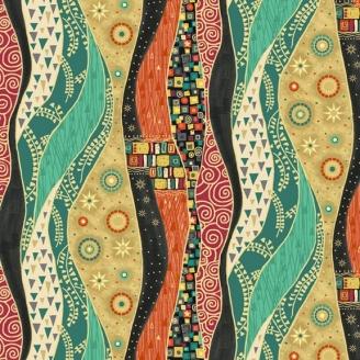 Tissu patchwork inspiration Klimt rayures oranges - Rhapsody