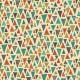 Tissu patchwork inspiration Klimt triangles oranges fond écru - Rhapsody
