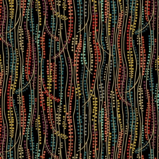 Tissu patchwork inspiration Klimt roseau rouge fond noir - Rhapsody