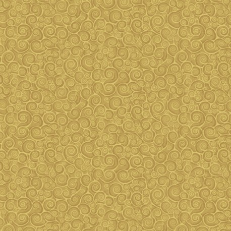Tissu patchwork inspiration Klimt volutes or - Gold Scroll