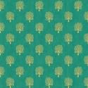 Tissu patchwork inspiration Klimt arbres fond vert - Rhapsody