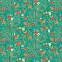 Tissu patchwork inspiration Klimt roses fond turquoise - Rhapsody