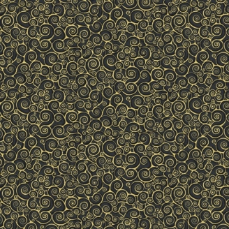 Tissu patchwork inspiration Klimt volutes noir - Gold Scroll