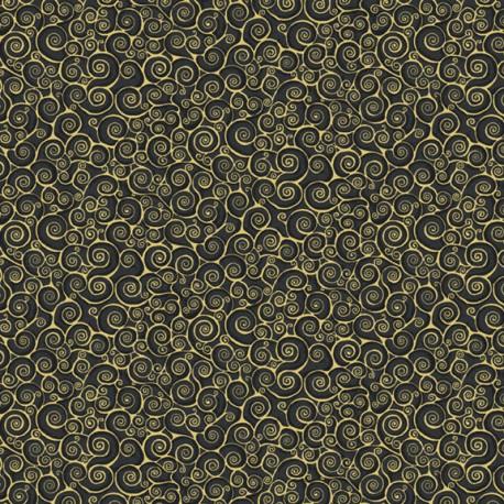 Tissu patchwork inspiration Klimt volutes noir - Gold Scroll