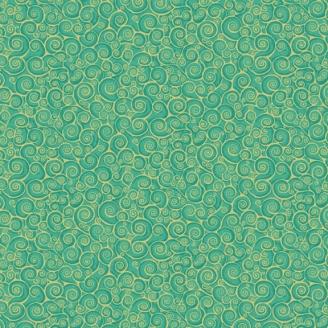 Tissu patchwork inspiration Klimt volutes turquoise - Gold Scroll