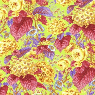 Tissu patchwork Philip Jacobs Rose and Hydrangea PJ097 jaune citron
