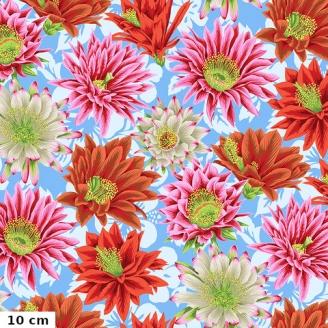 Tissu patchwork Philip Jacobs Fleur de Cactus PJ096 bleu ciel
