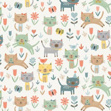 Tissu patchwork chats bondissants fond écru - Cool Cats