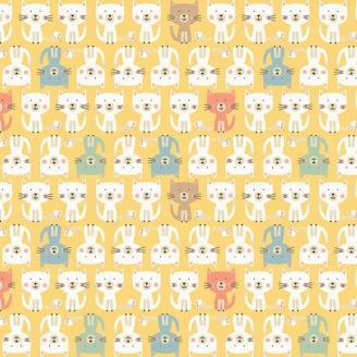 Tissu patchwork parade de chats fond jaune - Cool Cats