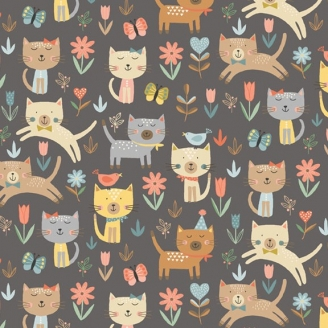 Tissu patchwork chats bondissants fond gris - Cool Cats