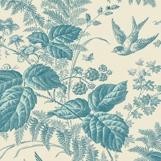 Tissu patchwork oiseaux et fleurs bleus fond écru - Royal Blue d'Edyta Sitar