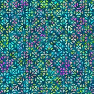 Tissu patchwork fleurs géométriques vert émeraude - Kashmir