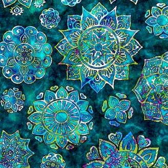 Tissu patchwork Mandalas vert lagon - Kashmir