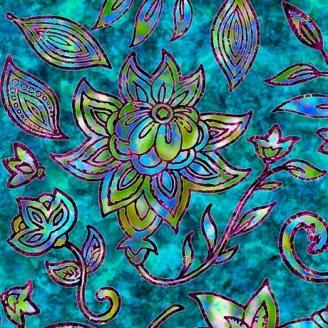 Tissu patchwork fleurs indiennes vert lagon - Kashmir