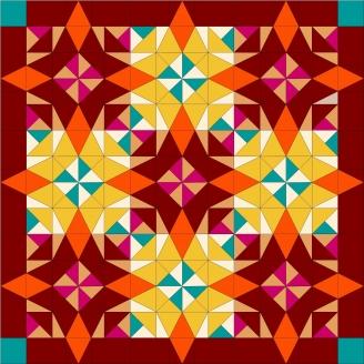 ARLEQUIN orange - kit de patchwork