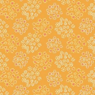 Tissu patchwork explosion floral fond jaune - Signature