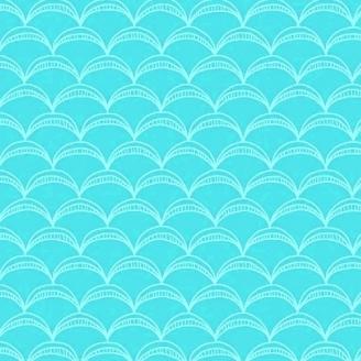 Tissu patchwork arcs turquoises ton sur ton - Good Vibes only