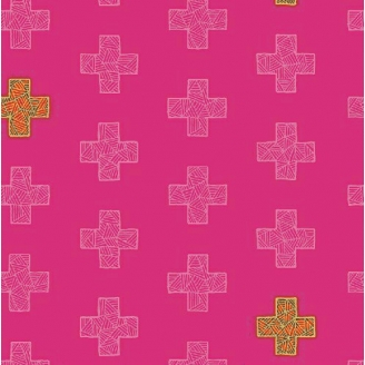 Tissu patchwork plus roses ton sur ton - Good Vibes only