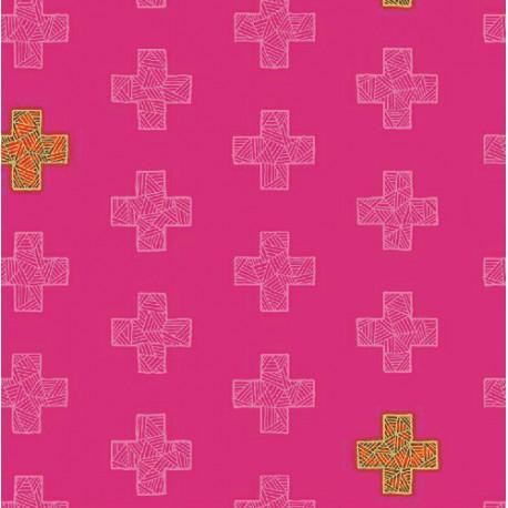 Tissu patchwork plus roses ton sur ton - Good Vibes only
