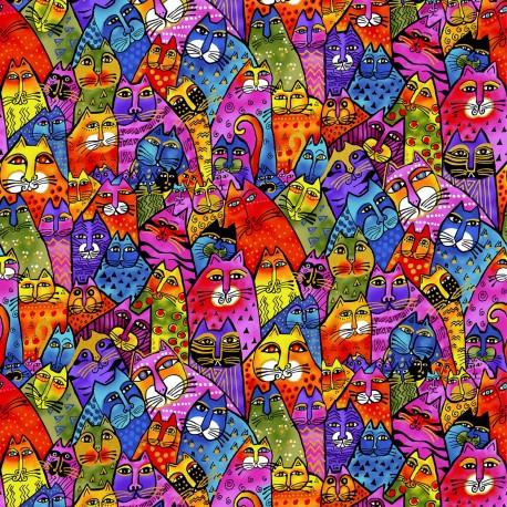Tissu Laurel Burch foule de chats multicolores - Feline Frolic