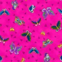 Tissu Laurel Burch papillons fond fuchsia - Feline Frolic
