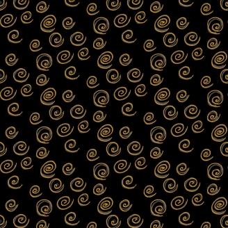 Tissu Laurel Burch noir à spirales dorées - Feline Frolic