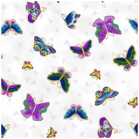 Tissu Laurel Burch papillons fond blanc - Feline Frolic