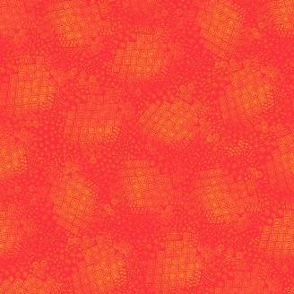 Tissu Laurel Burch orange géométrique - Feline Frolic