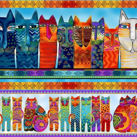 Tissu Laurel Burch chats en frises - Feline Frolic