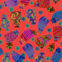 Tissu Laurel Burch chats renversants fond orange - Feline Frolic