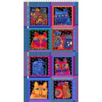 Tissu Laurel Burch panneau chat en blocs - Feline Frolic