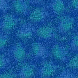 Tissu Laurel Burch bleu géométrique - Feline Frolic