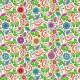 Tissu patchwork fleurs et volutes fond blanc - Rainbow Flight