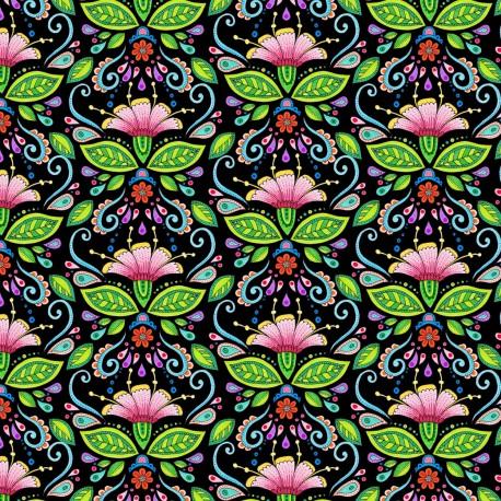 Tissu patchwork fleurs indiennes fond noir - Rainbow Flight