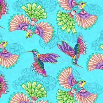Tissu patchwork colibris fond bleu - Rainbow Flight
