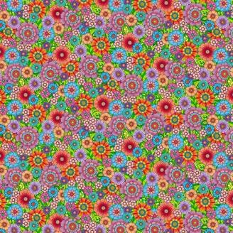 Tissu patchwork brassée de fleurs multicolores - Rainbow Flight