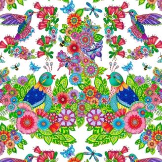 Tissu patchwork oiseaux, papillons et fleurs fond blanc - Rainbow Flight