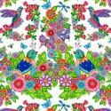 Tissu patchwork Panneau oiseaux, papillons et fleurs fond blanc - Rainbow Flight