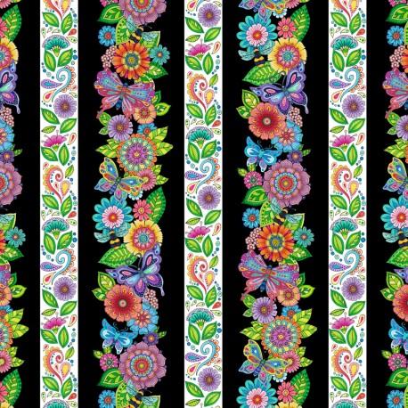 Tissu patchwork rayures de fleurs et de papillons fond noir - Rainbow Flight