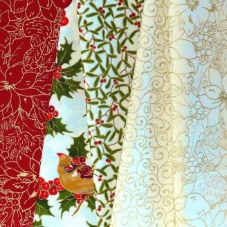 5 coupons de tissus de Noël - Cardinal Song Metallic